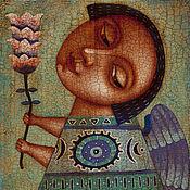 """Подарки к праздникам ручной работы. Ярмарка Мастеров - ручная работа """"Ангел с цветком 2"""", авторская печать. Handmade."""