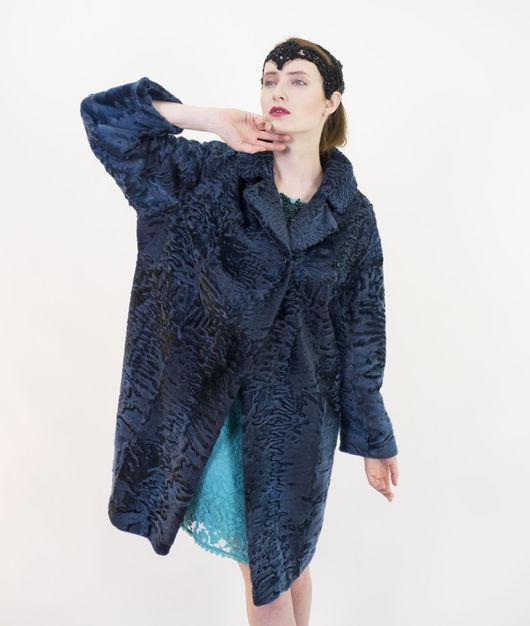 """Верхняя одежда ручной работы. Ярмарка Мастеров - ручная работа. Купить Шуба""""Мара"""". Handmade. Тёмно-синий, женское пальто"""