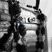 Украшения ручной работы. Ярмарка Мастеров - ручная работа БУСЫ из чёрного гагата серебряные ЛЕГКИЕ! Серебро 925 Колье Цветы Розы. Handmade.