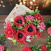 Косметика ручной работы handmade. Livemaster - original item A soap bouquet in an envelope of Maki and clarkia. Handmade.