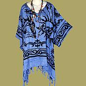 Одежда ручной работы. Ярмарка Мастеров - ручная работа Кельтский узор голубая туника платье, батик дельфины, свободный летний. Handmade.