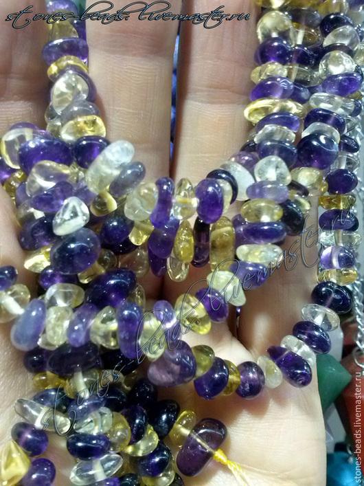 Натуральные камни, галтовка аметрин - размер от 0,8 до 1,2 см.