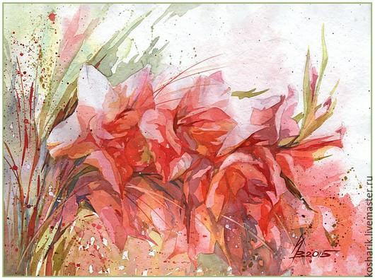 Картины цветов ручной работы. Ярмарка Мастеров - ручная работа. Купить Пылающий сад. Handmade. Ярко-красный, гладиолус, лето