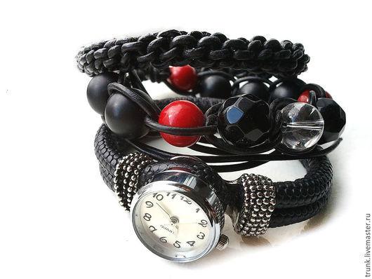 Браслеты ручной работы. Ярмарка Мастеров - ручная работа. Купить Комплект браслетов с часами и хрусталём. Классика.. Handmade. Черный