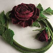 Аксессуары handmade. Livemaster - original item Belt felted rose color Marsala with a Bud. Handmade.