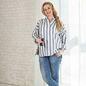 Одежда handmade. Livemaster - original item Linen striped shirt oversize tunic. Handmade.