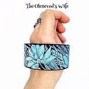 Украшения ручной работы. Ярмарка Мастеров - ручная работа Широкий женский браслет Голубой. Handmade.