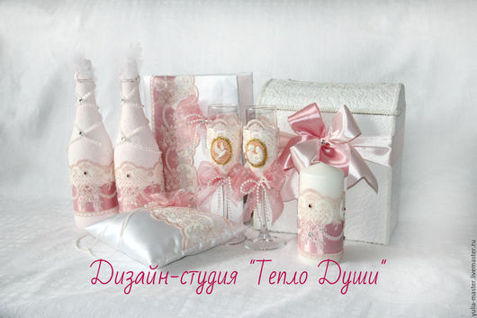 Свадебные аксессуары ручной работы. Ярмарка Мастеров - ручная работа. Купить Свадебный набор Розовый зефир. Handmade. Бледно-розовый