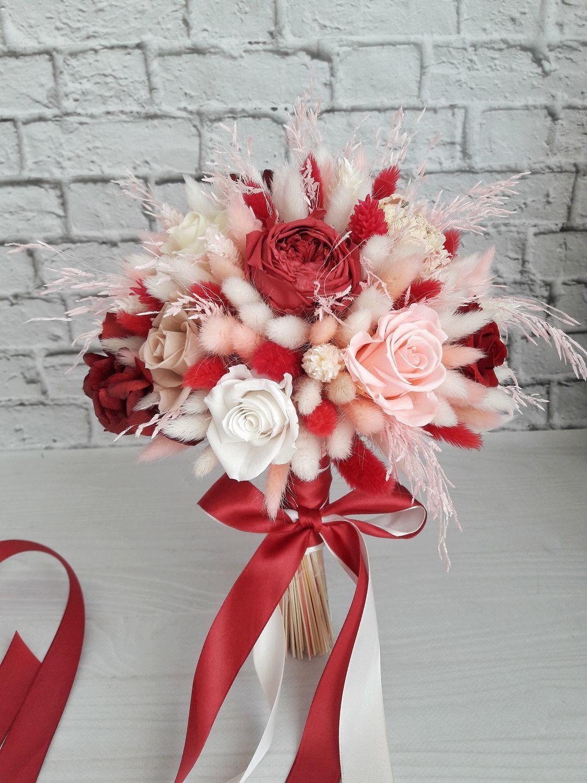 Яркий свадебный букет с пионовидными розами, Свадебные букеты, Москва,  Фото №1