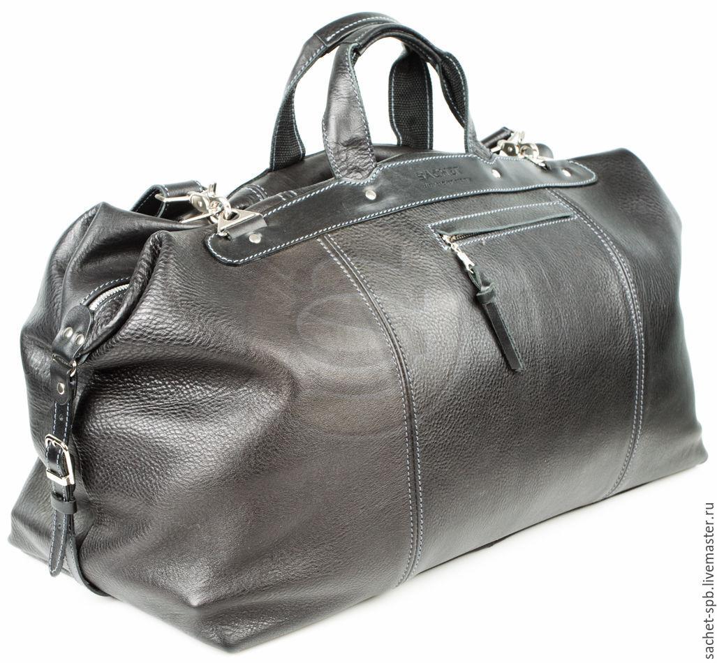Leather travel bag black, Travel bag, St. Petersburg,  Фото №1