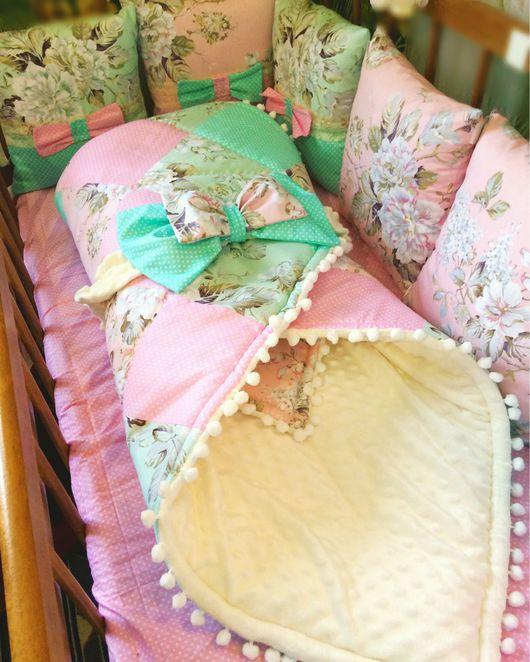 Для новорожденных, ручной работы. Ярмарка Мастеров - ручная работа. Купить Комплект в кроватку. Handmade. Кокон для новорожденного, гнездышко, babynest