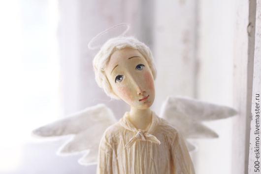 Коллекционные куклы ручной работы. Ярмарка Мастеров - ручная работа. Купить Ангел с птичкой. Handmade. Белый