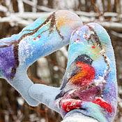 Аксессуары handmade. Livemaster - original item Mittens felted the Onset of winter. Handmade.