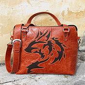 Сумки и аксессуары handmade. Livemaster - original item Bag from a genuine leather with reverse applique. Handmade.