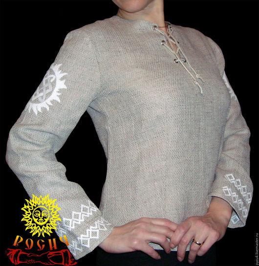 Рубаха женская `Звезда Лады`. 100% лён. Цвет ткани и вышивки может быть изменен по желанию заказчика.
