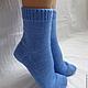 Носки, чулки ручной работы. Носки вязаные. Носочки вязаные «Синий лен» из коллекции «Подарки». Olgafrancesca . Ярмарка мастеров.