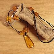 Подвеска №107715 с натуральным янтарем