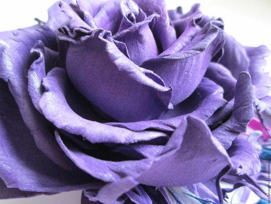 Заколки ручной работы. Ярмарка Мастеров - ручная работа. Купить Индиго. Роза-зажим.. Handmade. Тёмно-фиолетовый, роза из фоамирана