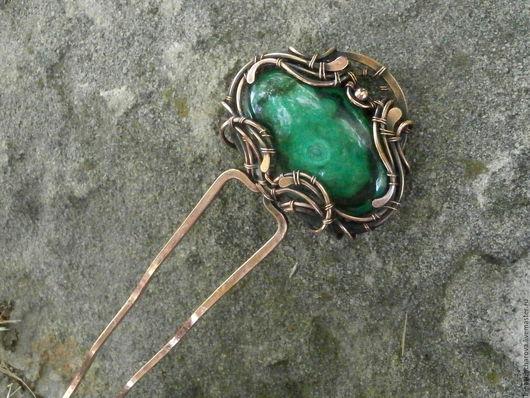 Медная шпилька с натуральным малахитом , заколка для волос, шпилька медная,украшение для волос, подарок девушке,шпилька с камнем, заколка для прически,шпилька с камнем