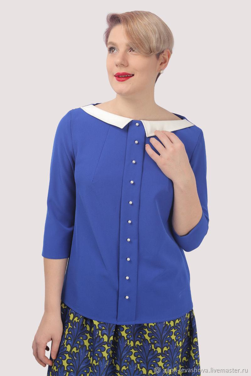 Блузка синяя с воротничком и отделкой жемчугом, Блузки, Москва,  Фото №1