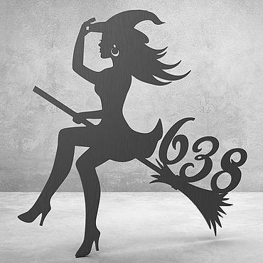 """Для дома и интерьера ручной работы. Ярмарка Мастеров - ручная работа Номерок на дверь """"The witch on the broom"""". Handmade."""