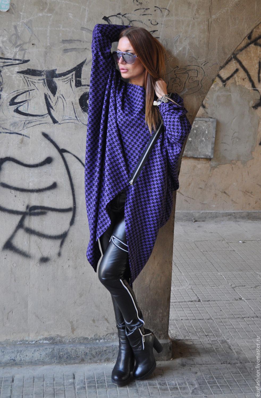 Purple tunic. Tunic. Cotton tunic. Tunic in a cage. Asymmetrical tunic. Blouse. Tunic zipper. Jacket. EUG.