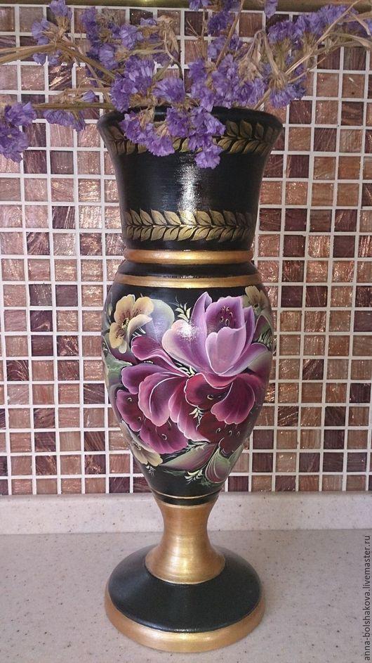 """Вазы ручной работы. Ярмарка Мастеров - ручная работа. Купить Ваза деревянная """"Тюльпаны и маки"""". Handmade. Черный, ваза декоративная"""