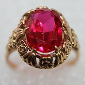 Винтаж handmade. Livemaster - original item Magnificent gold ring with synthetic ruby, USSR. Handmade.