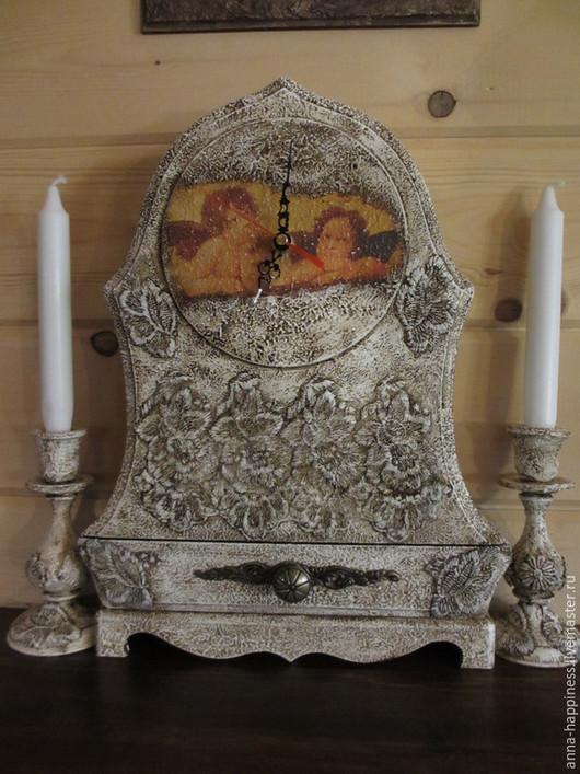 """Часы для дома ручной работы. Ярмарка Мастеров - ручная работа. Купить Каминные часы """"Ангелы в кружевах"""". Handmade. Разноцветный"""