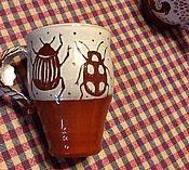 Посуда ручной работы. Ярмарка Мастеров - ручная работа Чашка с жуками. Handmade.