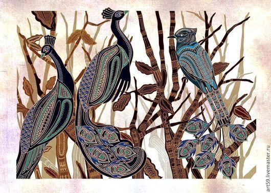 Фантазийные сюжеты ручной работы. Ярмарка Мастеров - ручная работа. Купить Картина с птицами. Handmade. Птицы, картина для интерьера, стилизация