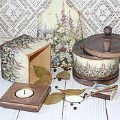 """Для дома и интерьера ручной работы. Ярмарка Мастеров - ручная работа """"Бабушкин палисадник"""" Набор для кухни. Handmade."""