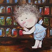 Картины и панно ручной работы. Ярмарка Мастеров - ручная работа Картина маслом Гапчинская  Я знаю, где прячутся огурчики. Handmade.