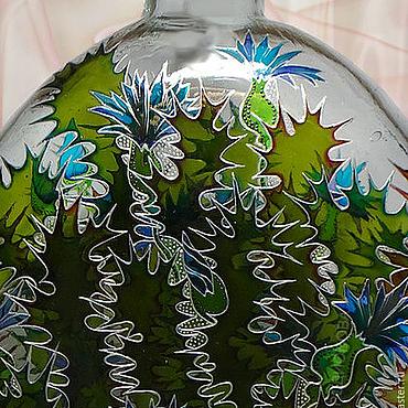 Посуда ручной работы. Ярмарка Мастеров - ручная работа Чертополох витражная роспись. Handmade.
