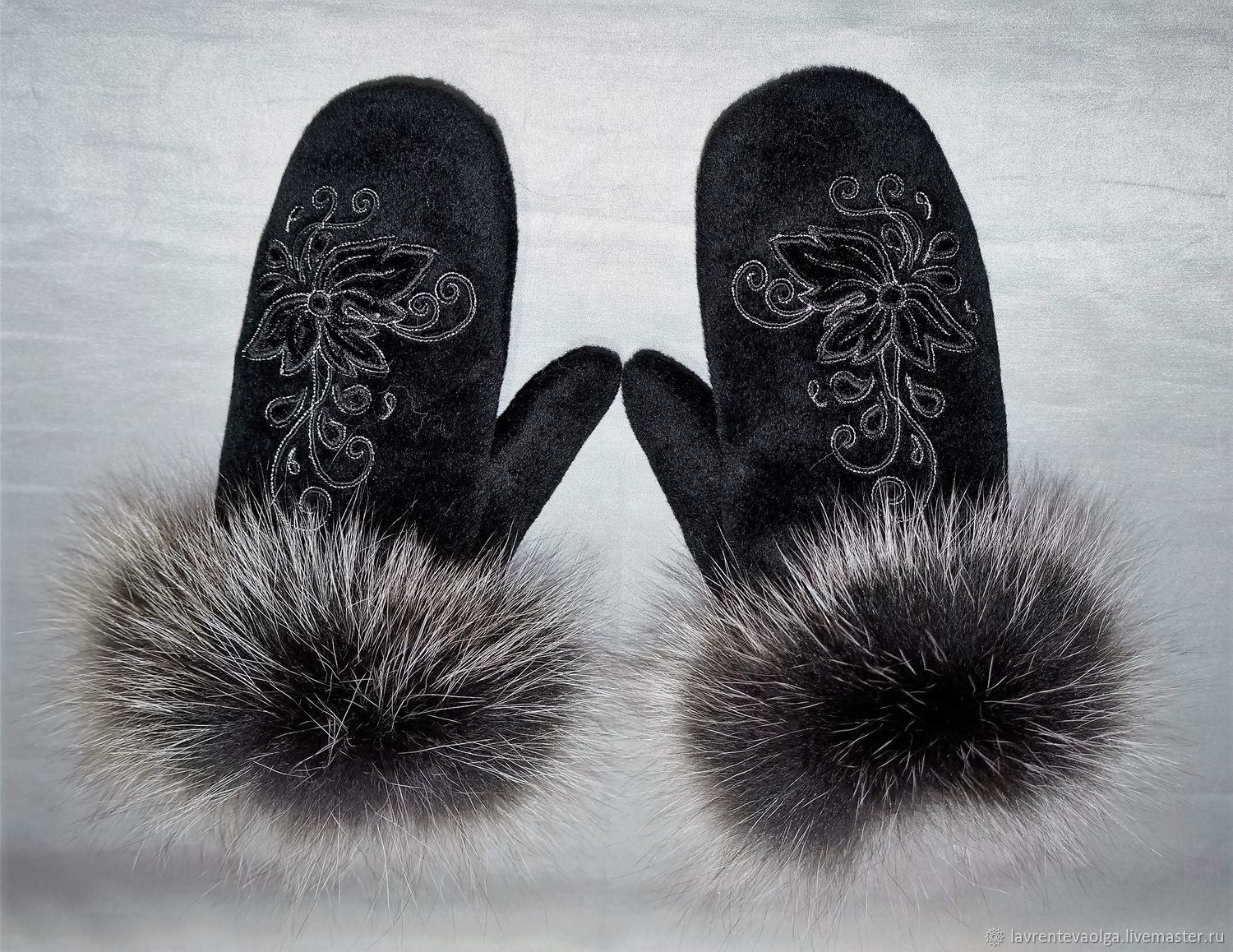 Cashmere mittens with fur, Mittens, Moscow,  Фото №1
