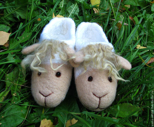 Обувь ручной работы. Ярмарка Мастеров - ручная работа. Купить Овечки. Handmade. Белый, тапочки, домашние тапочки, Овечки