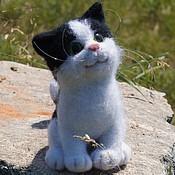 Куклы и игрушки handmade. Livemaster - original item Kitten black-and-white. Felted toy made of wool. Handmade.