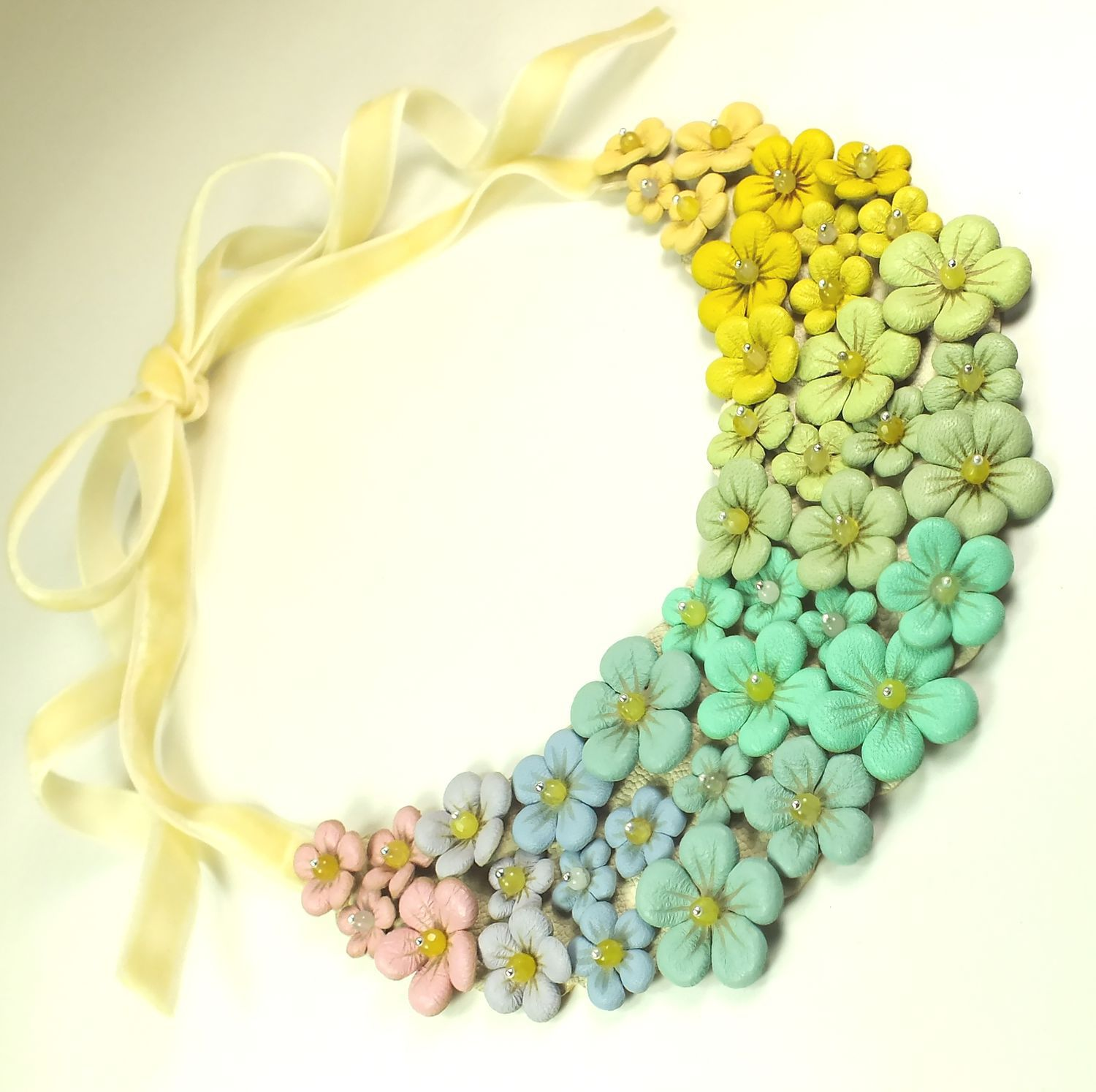 Dessert - Rainbow Etude. Necklace made of genuine leather, Necklace, St. Petersburg,  Фото №1