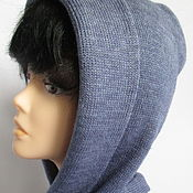 Аксессуары handmade. Livemaster - original item Copy work Hood scarf hood double-layer color jeans the wool. Handmade.