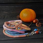 """Украшения ручной работы. Ярмарка Мастеров - ручная работа Лариат """"Бархатные краски"""", Оранжевый. Handmade."""