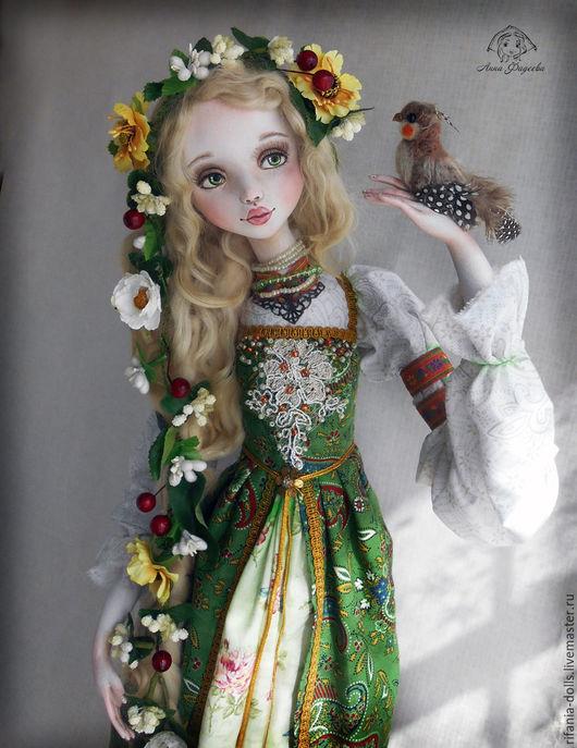 Коллекционные куклы ручной работы. Ярмарка Мастеров - ручная работа. Купить Леля. Handmade. Ярко-зелёный, ла долл, перья
