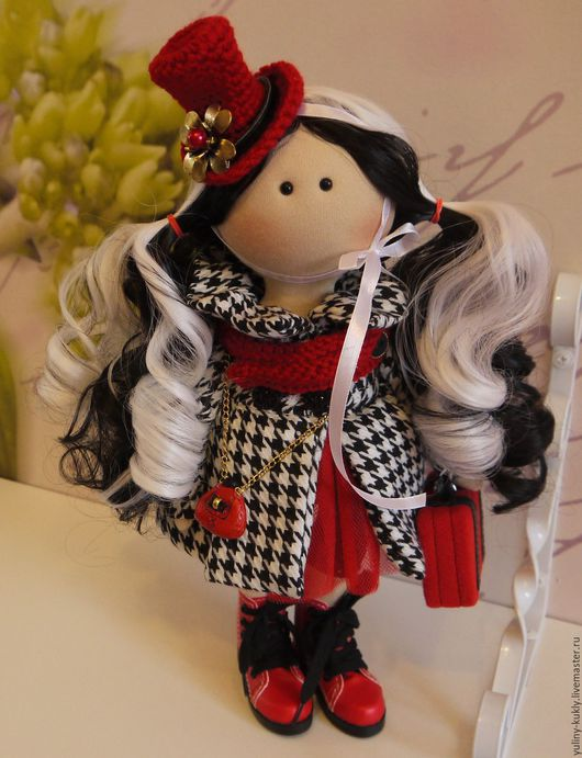 Коллекционные куклы ручной работы. Ярмарка Мастеров - ручная работа. Купить Текстильная куколка-малышка Блэки Уайт. Handmade. твид