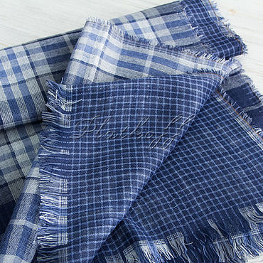 Accessories handmade. Livemaster - original item Double-sided blue plaid stole