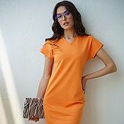 Одежда handmade. Livemaster - original item Orange dress made of Citrus cotton lining, loose knitted. Handmade.