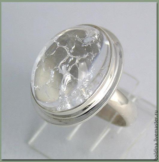Кольца ручной работы. Ярмарка Мастеров - ручная работа. Купить Кольцо серебряное  с льдистым кварцем. Handmade. Белый