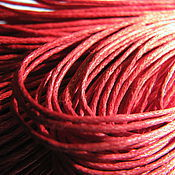 Шнуры ручной работы. Ярмарка Мастеров - ручная работа Вощеный шнур 1 мм, хлопок, украшения, красный,. Handmade.
