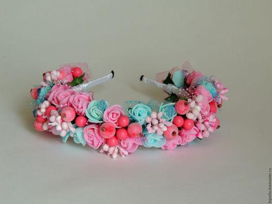 Диадемы, обручи ручной работы. Ярмарка Мастеров - ручная работа. Купить Веночек-ободок  для волос Розово-голубой. Handmade.