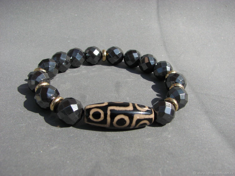 Bracelet with hemitite and Dzi 9 eyes 'Downloads', Bead bracelet, Moscow,  Фото №1