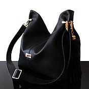 Сумки и аксессуары handmade. Livemaster - original item Granville Black, Leather Bag with Long Strap, Black Bag. Handmade.