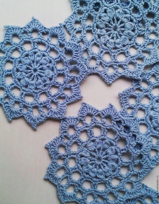 Текстиль, ковры ручной работы. Ярмарка Мастеров - ручная работа. Купить Голубые салфетки-подставки под чашки вязаные крючком. Handmade.